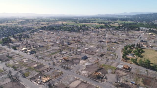 Aerial of wildfire damage in Coffey Park, Santa Rosa, California Drone footage shows fire damage in the Coffey Park neighborhood eight months after a massive fire destroyed the neighborhood. Only a handful of homes have been rebuilt. california stock videos & royalty-free footage