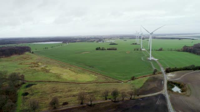 Aerial of Wind Turbine in green field video