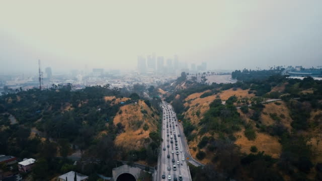 Aerial of LA with Traffic video