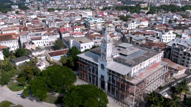 Aerial of Zanzibar Stone Town Aerial shot of Zanzibar city Stone town. tanzania stock videos & royalty-free footage