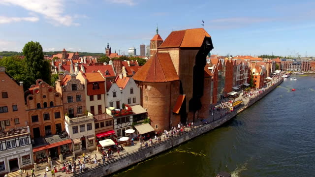 Aerial: Old town of Gdansk, Poland Aerial, Gdansk, Poland, Europe, architecture, summer, gdansk stock videos & royalty-free footage