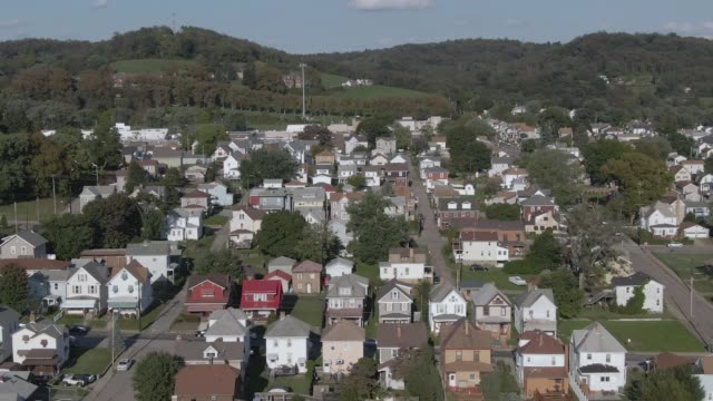 Aerial Orbiting View of Typical Pennsylvania Neighborhood video