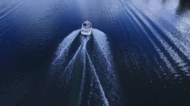 Aerial over a speedboat on a lake