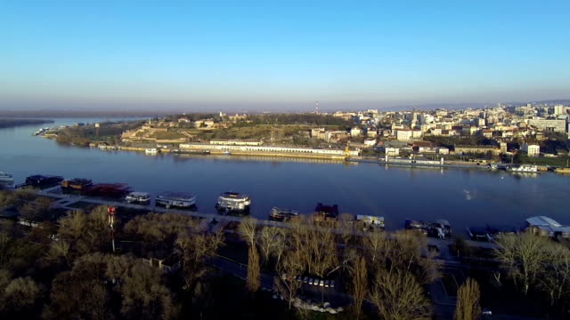 Aerial over confluence of the rivers Sava and Danube near medieval fortress Kalemegdan Belgrade, Serbia. video