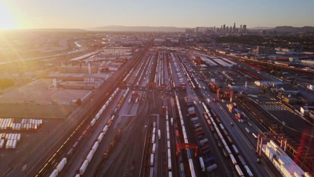 Aerial Over Intermodal Freight Yard Near Downtown Los Angeles - video