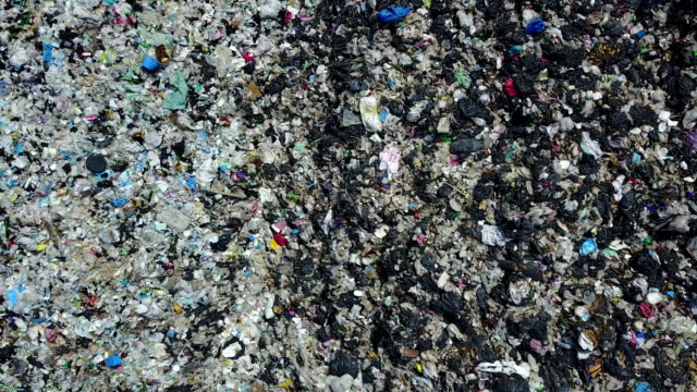 4K Aerial over landfill full of trash video