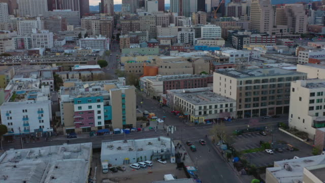 Aerial over Skid Row Downtown Los Angeles street during the Covid-19 pandemic
