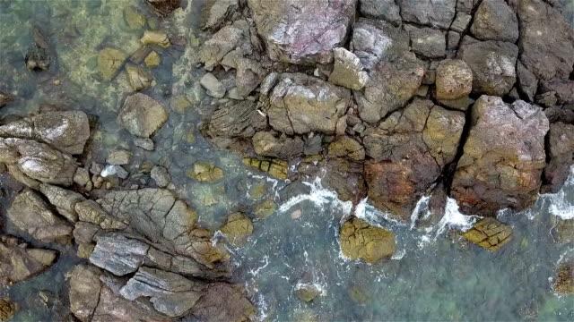 Aerial Overhead Footage Of Sea Waves Crashing On Rocky Shore