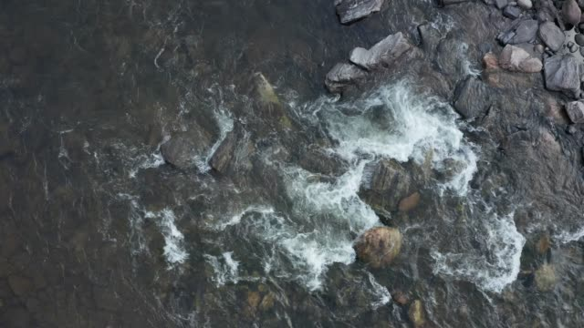 aerial overhead view of a rapid on mountain river