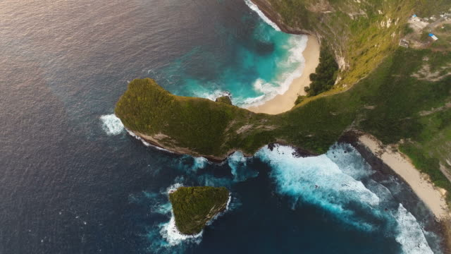 Aerial overhead view of Kelingking Beach in Nusa Penida, Bali, Indonesia. video