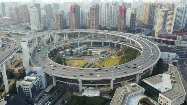 Aerial Overview of Nan Pu Bridge in Shanghai China Elevated Circular with moving traffic