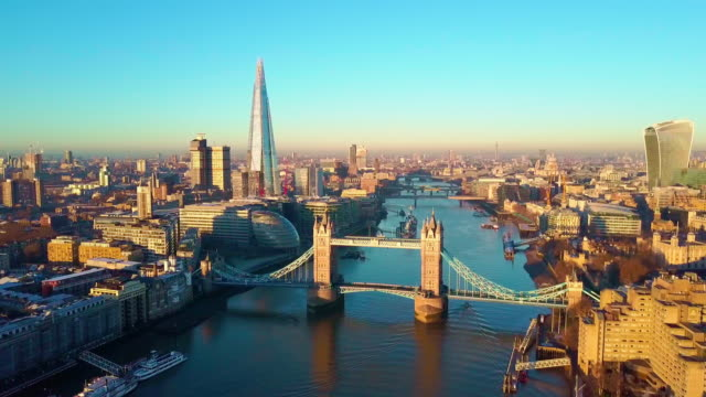 aerial panning video of london and the river thames - london architecture stock videos & royalty-free footage