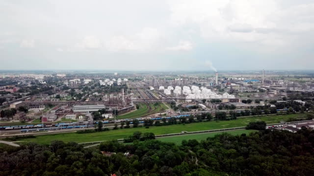 Aerial panorama of oil refinery Flight near of oil refinery hungary stock videos & royalty-free footage