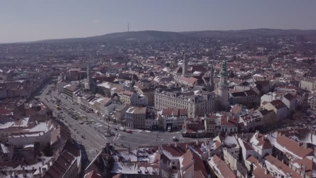 Aerial panorama of old town Sopron, Hungary. Original untouched LOG format. Aerial view of Sopron, Hungary. Untouched LOG format hungary stock videos & royalty-free footage