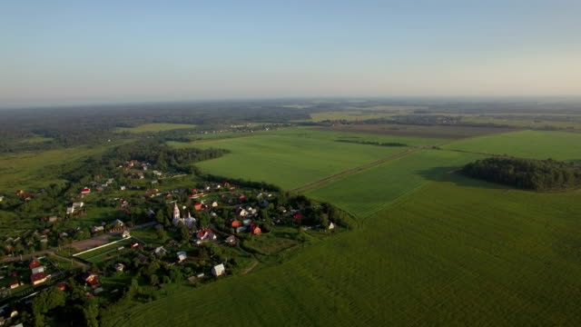 Aerial panorama do campo russo - vídeo