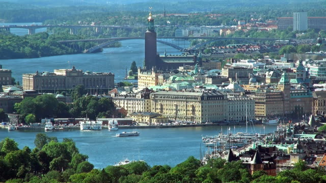 Aerial panorama of Stockholm, Sweden video
