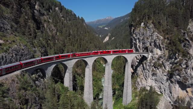 Aerial panorama of train on famous Landwasser Viaduct (Landwasserviadukt), Graubunden, Switzerland.