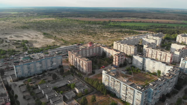 Aerial Panorama on Dwelling Blocks with Multistory Colorful Buildings at Nature