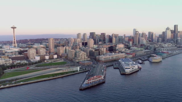 Aerial Panorama Seattle Washington Skyline Urban Waterfront View Pacific Northwest video