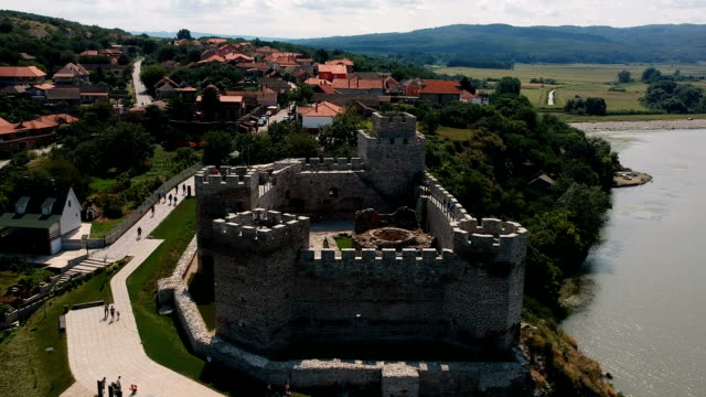 Aerial panorama view of newly restored Ram castle former Turkish stronghold on the bank of the river Danube in Serbia