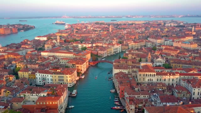 Aerial panoramic view of cityscape of Venice, Grand Canal in famous historical
