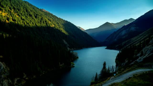 Aerial Panoramic view of mountain lake Kolsay in Kazakhstan video