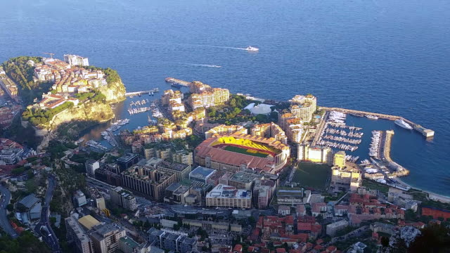 Aerial Panoramic View of the Monaco-Ville and Fontvieille District video