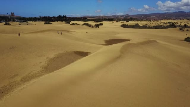 Aerial panoramic view of the stunning sand dunes Aerial panoramic view of the stunning sand dunes in the Natural Reserve of Dunes of Maspaloma in Gran Canaria desert oasis stock videos & royalty-free footage