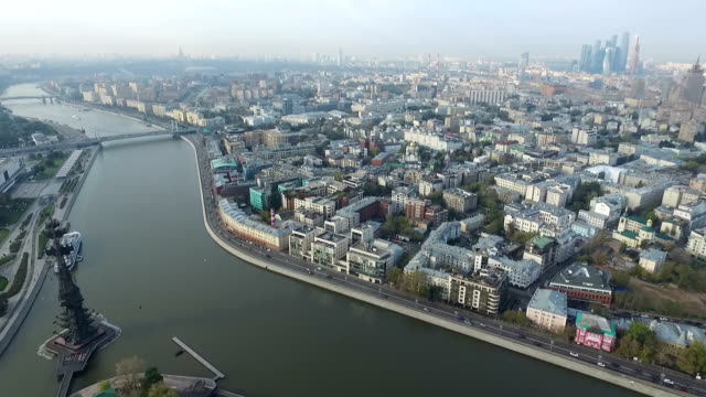 Aerial panoramic views over the historical center of Moscow video
