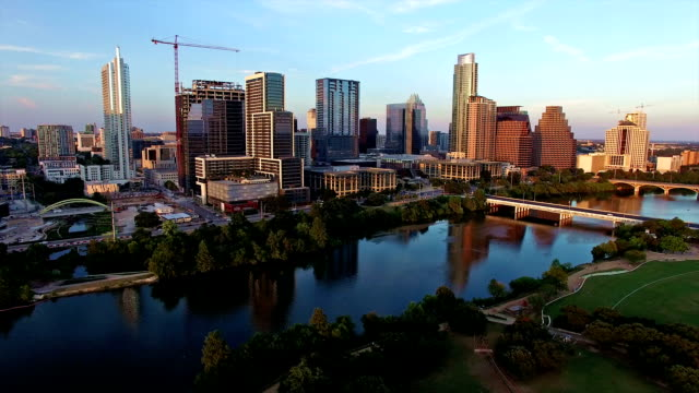 Aerial: Perfect Austin Texas Sunset over Downtown Town Lake Aerial: Perfect Austin Texas Sunset over Downtown Town Lake post modern architecture stock videos & royalty-free footage