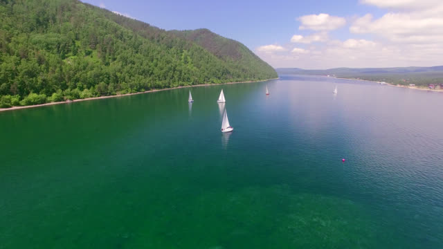 Aerial Photo. Sailing regatta on the river Angara Aerial Photo. Sailing regatta on the river Angara. regatta stock videos & royalty-free footage