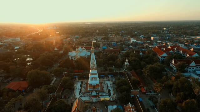 Aerial photograph Landmark temple thailand Wat Phra That Phanom in Thailand video