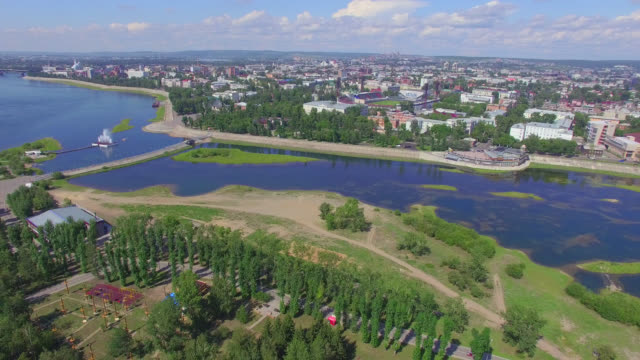 vídeos de stock e filmes b-roll de aerial photography. landscape of the city from above. summer. irkutsk - irkutsk