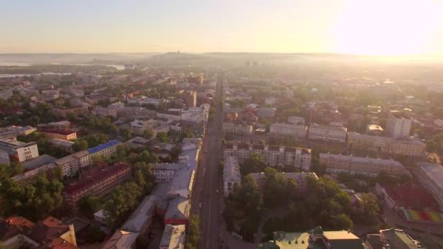 vídeos de stock e filmes b-roll de aerial photography. morning of a big city. summer. irkutsk - irkutsk