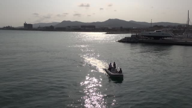 Aerial Port Mataro drone sea Mediterranean