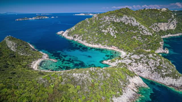 Aerial: Porto Timoni beach in Corfu, Greece