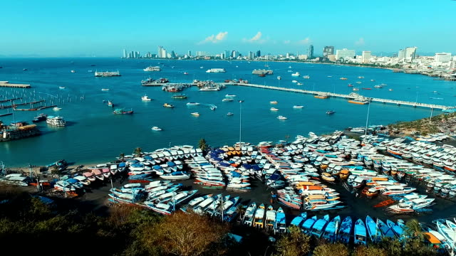 Aerial: Pratumnak hill Pattaya, view on seaport. Aerial: Pratumnak hill Pattaya, view on seaport. Thailand. pattaya stock videos & royalty-free footage