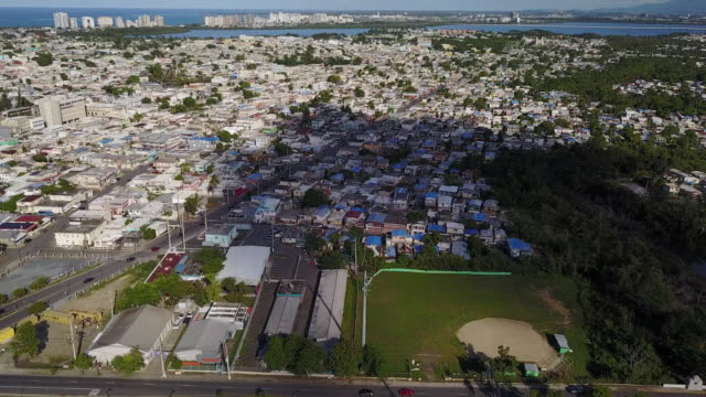 Aerial Puerto Rico Blue Roofs Damage From Hurricane Maria Aerial Puerto Rico Blue Roofs Damage From Hurricane Maria puerto rico stock videos & royalty-free footage