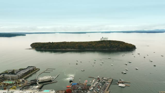 Aerial pull back drone shot above Bar Harbor, Maine video