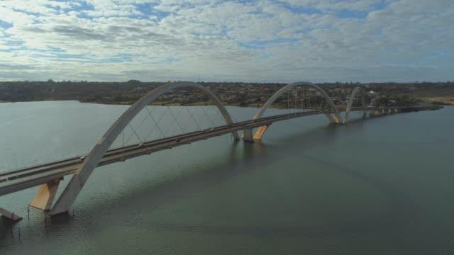 Aerial pulling out from the Juscelino Kubitsheck Bridge (JK Bridge) in Brasilia above water