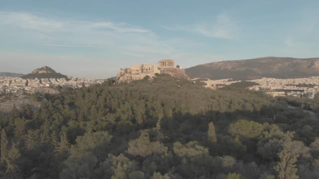 Aerial raw footage - Athens - Greece - close view of the Acropolis from a hill full of trees video