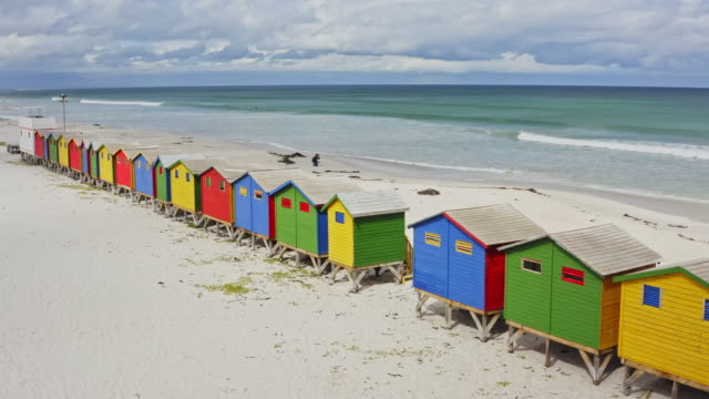 Aerial real time video at Muizenberg Beach, Cape Town, South Africa Aerial real time video at Muizenberg Beach, Cape Town, South Africa. cape town stock videos & royalty-free footage