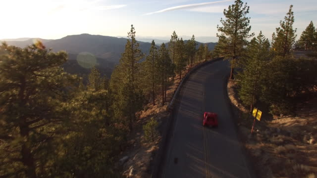 Aerial red sports car chase through forest Drone shot of a red sports car driving along a road in a forest. sports car stock videos & royalty-free footage