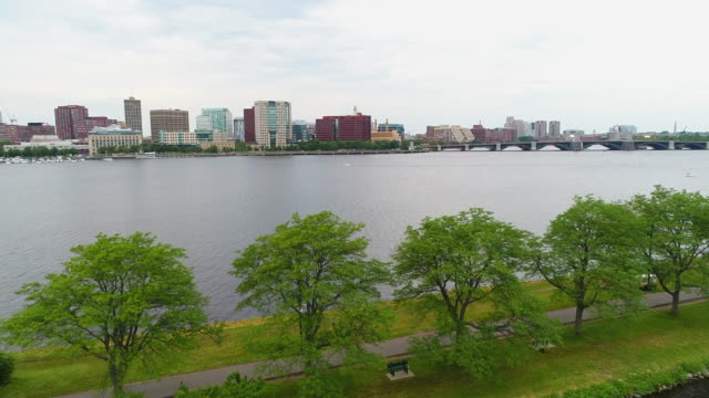 Aerial reveal Charles River Boston MA video