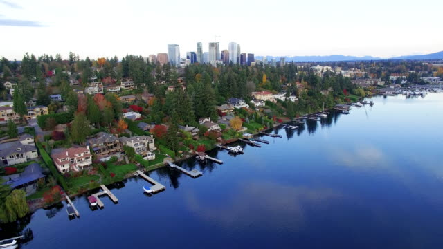 Aerial Reveal City of Bellevue Wa USA Skyline video