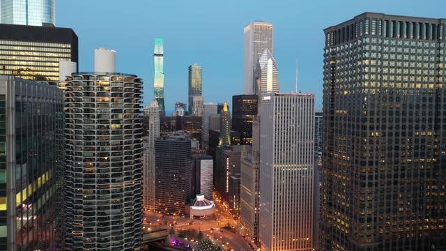 Aerial Reveal of Chicago Riverwalk at Dusk - 4K