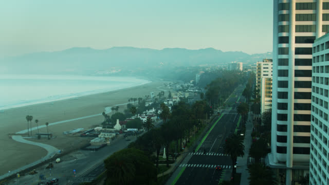 Aerial Reveal of PCH and Ocean Ave on Foggy Morning in Santa Monica During Covid-19 Lockdown