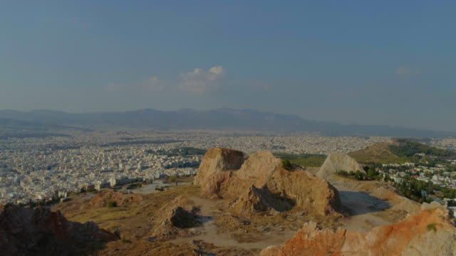 Aerial - rocky mountains and a city - Athens video