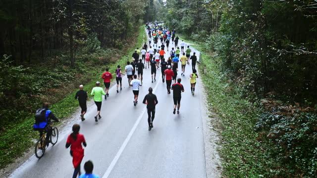 vídeos de stock, filmes e b-roll de corredores aéreos correndo uma maratona na estrada pela floresta - persistência