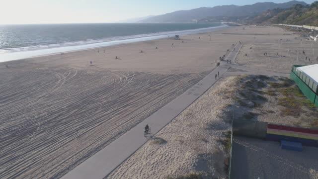 Aerial Santa Monica Beach, Los Angeles video